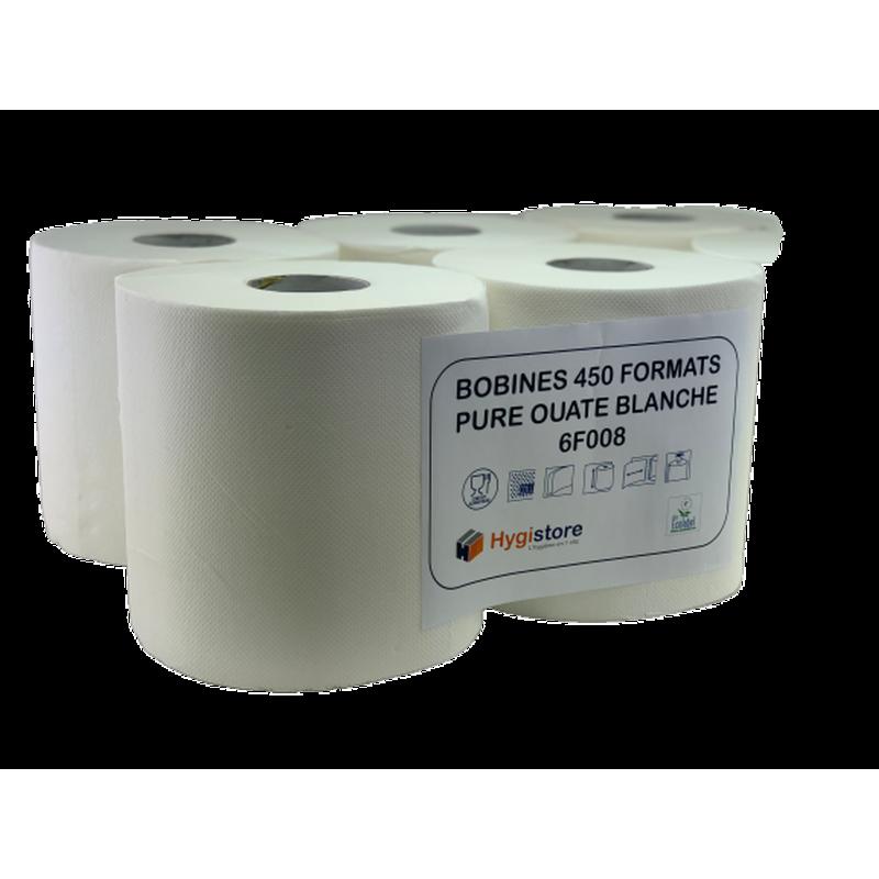 PAQUET DE 6 bobines ESSUYAGE PAPIER BOBINE ESSUIE MAIN BLANCHE PURE OUATE 450 F