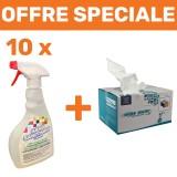 Pack désinfectant Virus+ : 1 carton de 500 chiffons non tissés + 10 spray désinfectants